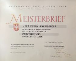 Meisterbrief von Hr. Sch�fberger